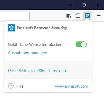 Screenshot 1 - Emsisoft Browser Security für Firefox