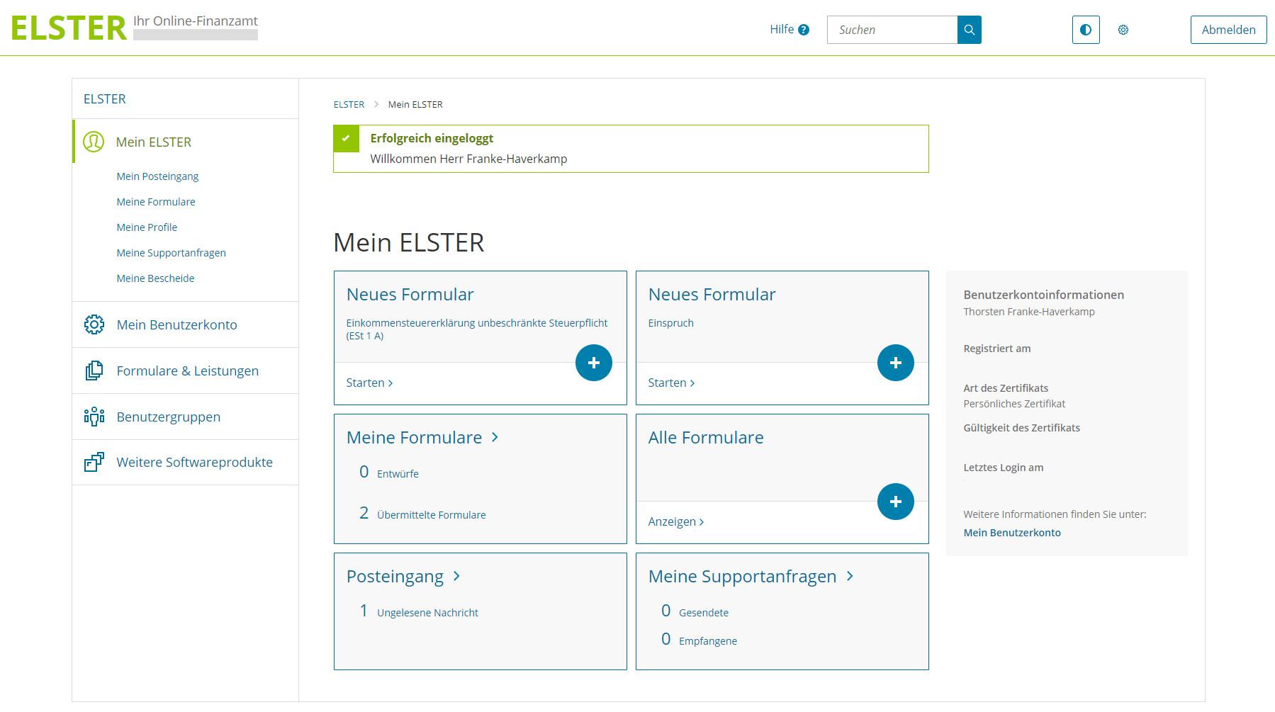 Screenshot 1 - Mein Elster: Online-Steuererklärung im Internet