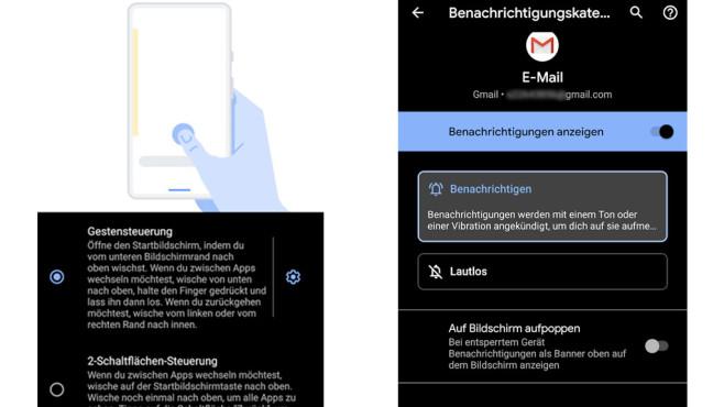 Android 10: Gestensteuerung, lautlose Benachrichtigungen©COMPUTER BILD