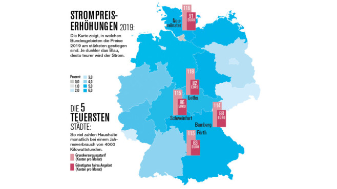 Karte: So steigen die Strompreis in Deutschland©Verivox, Montage COMPUTER BILD
