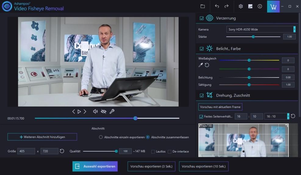 Screenshot 1 - Ashampoo Video Fisheye Removal
