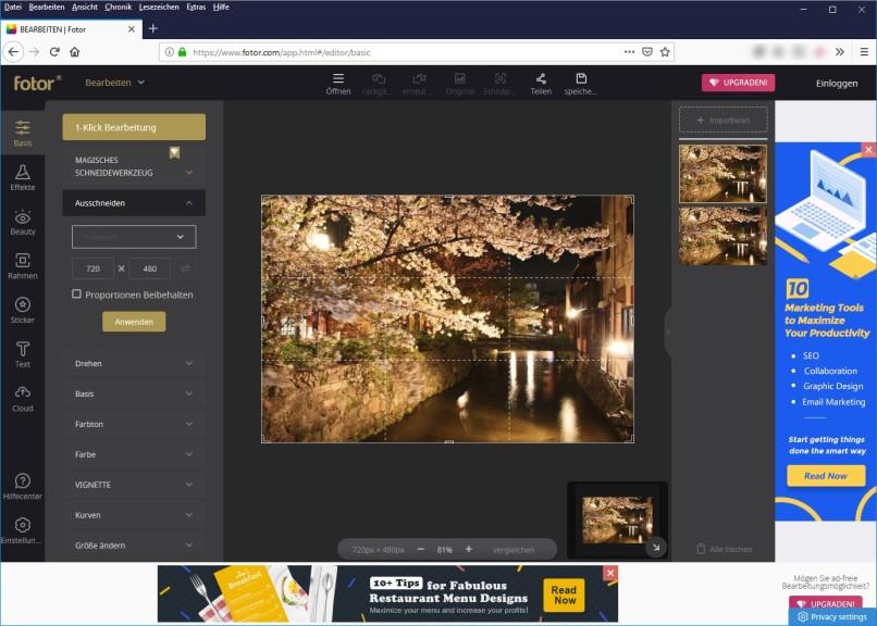 Screenshot 1 - Fotor: Online Photo Editor