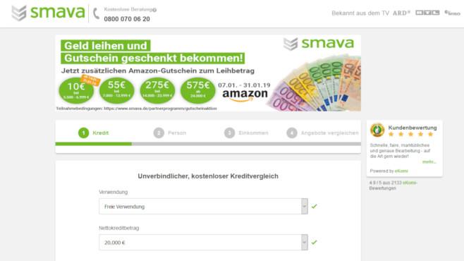 Smava-Kredit mit Amazon-Gutschein©Screenshot www.smava.de