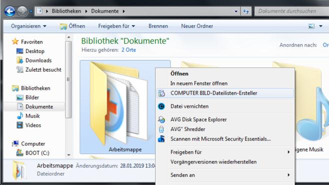 Windows 7/8/10: Ordner inventarisieren – Simpel-Tool selbst gebaut©COMPUTER BILD