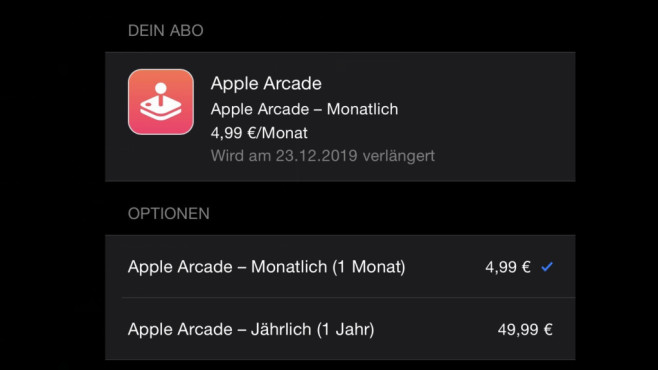 Apple Arcade: Abo-Optionen © Apple