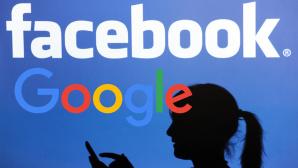 Facebook- und Google-Logo, Frau mit Handy©dpa-Bildfunk, facebook, Google