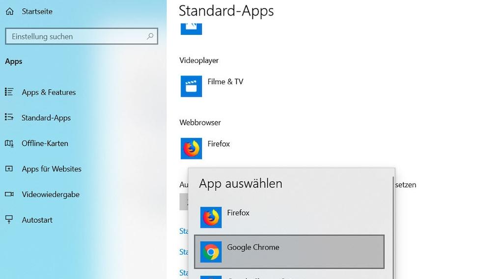 Google Chrome als Standard-App einstellen