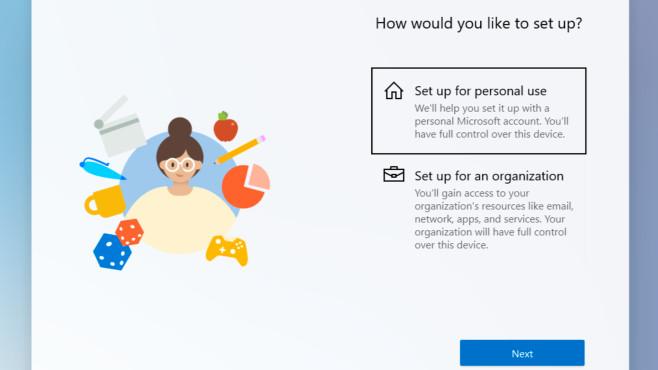 Windows 10X kommt mit neuem Setup Schluss mit blauen und grauen Kacheln: Windows 10X grüßt seine Nutzer bei der Einrichtung mit bunten Grafiken.©Microsoft, COMPUTER BILD