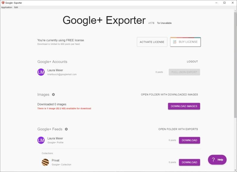 Screenshot 1 - Google+ Exporter