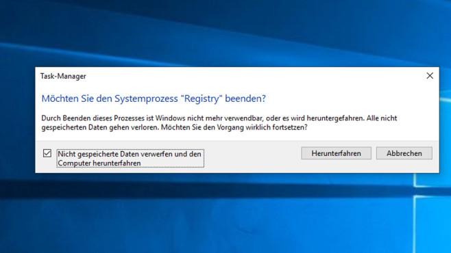 Windows 10 1803/1909: Registry beenden – per Task-Manager möglich?©COMPUTER BILD