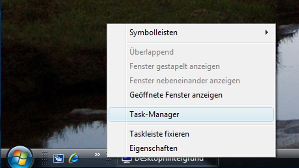 Task-Manager in der Taskleiste: Aufruf per Kontextmenü