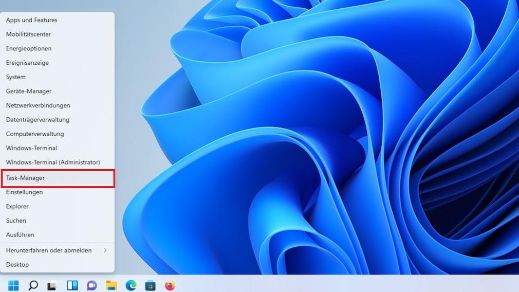 Task-Manager in der Taskleiste: Aufruf per Kontextmenü Das Kontextmenü unter Windows 11 – statt von der Taskleiste vom Startbutton.