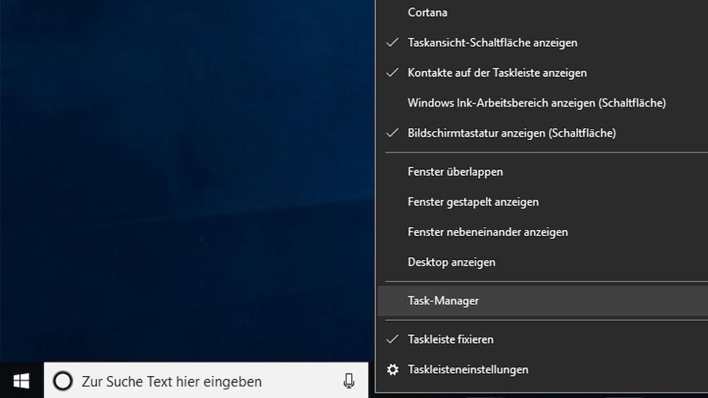 Task-Manager in der Taskleiste: Aufruf per Kontextmenü Windows 10