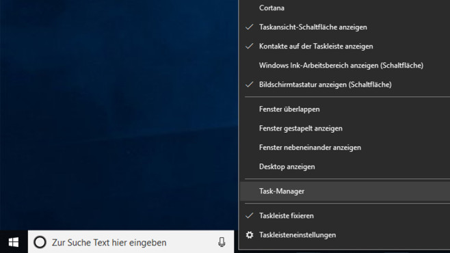 Task-Manager in der Taskleiste: Aufruf per Kontextmenü Windows 10©COMPUTER BILD