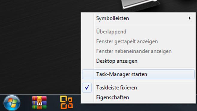 Task-Manager in der Taskleiste: Aufruf per Kontextmenü Windows 7©COMPUTER BILD