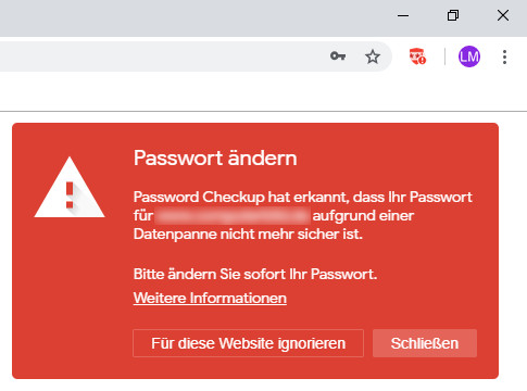 Screenshot 1 - Password Checkup für Chrome