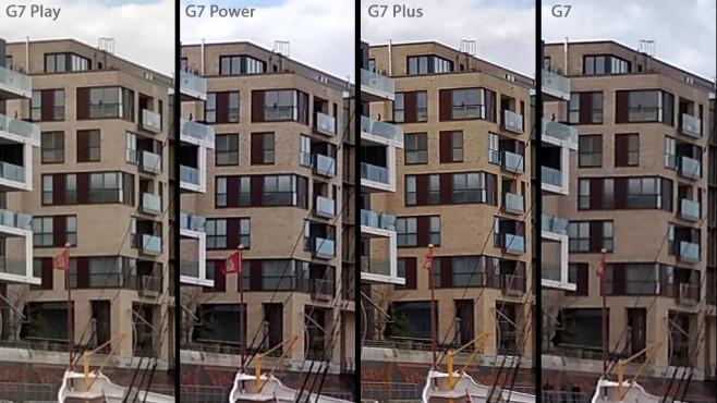 Motorola Moto G7 Play im Praxis-Test: Günstig, aber echt nicht billig! Bildausschnitte im Vergleich: Das  macht mit Abstand die detailreichsten und farbstärksten Bilder. In diesem Beispiel bietet der Ausschnitt vom  sogar mehr Details als vom normalen . Kurz dahinter das G7 Play. Das komplette Foto vom Play ist unter diesem Artikel verlinkt. Die anderen Aufnahmen finden Sie im jeweiligen Test-Artikel. So können Sie die Fotos in der Großansicht in Ihrem Browser öffnen und vergleichen.©COMPUTER BILD/Michael Huch