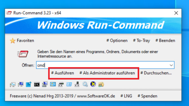 Windows Run-Command: Buttons © COMPUTER BILD
