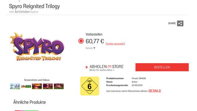 Spyro – Reignited Trilogy©Actvision / Gamestop