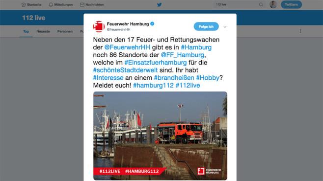Tag des Notrufs: Hier twittert heute die Feuerwehr Bundesweit twittern die Feuerwehren heute mit dem Hashtag #112live.©Twitter, Feuerwehr Hamburg