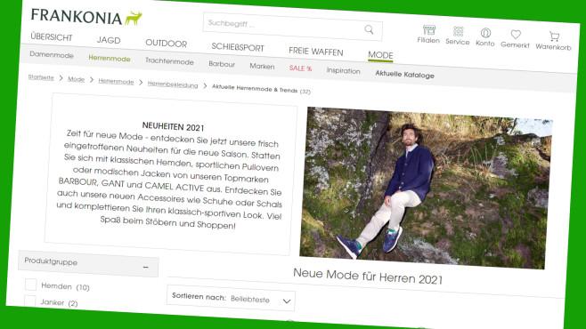 Markenmode bei Frankonia 20 Prozent günstiger©PR/Screenshot www.frankonia.de