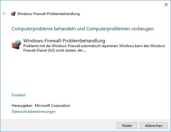 Screenshot 1 - Windows Firewall Fix