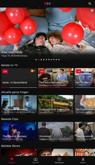 Screenshot 1 - 7TV Mediathek & Livestream (Android-App)