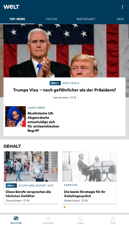 Screenshot 1 - Welt-News: Nachrichten live (App für iPhone & iPad)