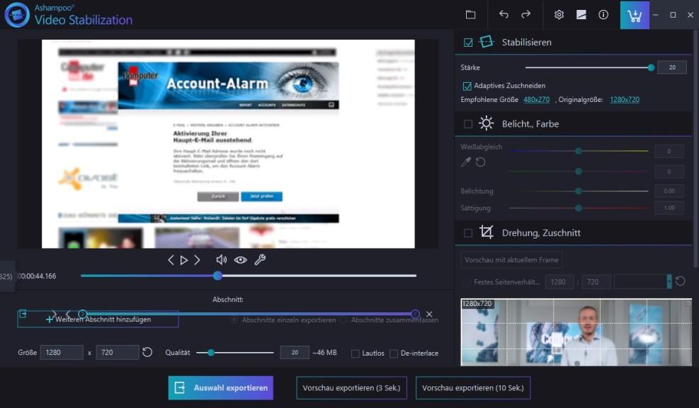 Screenshot 1 - Ashampoo Video Stabilization