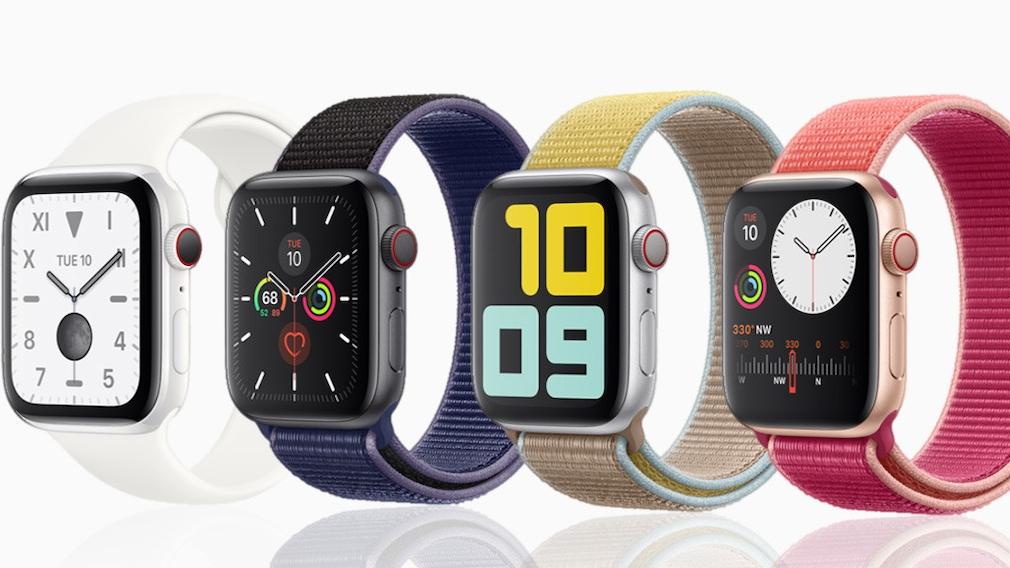 Apple Watch 5 mit verschiedenen Gehäusematerialien