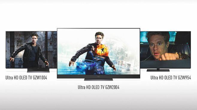 Neue Panasonic-Fernseher: Mehr OLED, weniger LCD Panasonic GZW954, GZW1004 und GZW2004: Die drei OLED-Baureihen unterscheiden sich vor allem in der Lautsprecherausstattung.©Panasonic