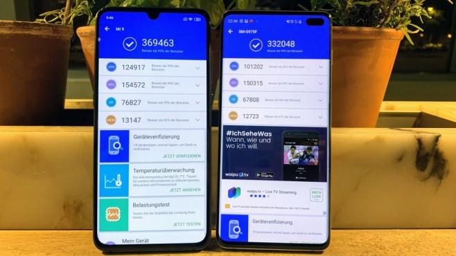 Xiaomi Mi 9: Praxis-Test, Preis, Release, Bilder, kaufen, technische Daten Sensationell: Der pfeilschnelle Snapdragon 855 macht das Mi 9 (links) zum schnellsten Smartphone am Markt, da hat sogar das S10 Plus (rechts) das Nachsehen.©COMPUTER BILD