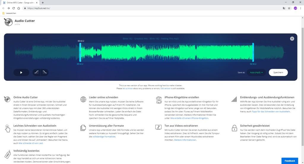 Screenshot 1 - Online MP3 Cutter