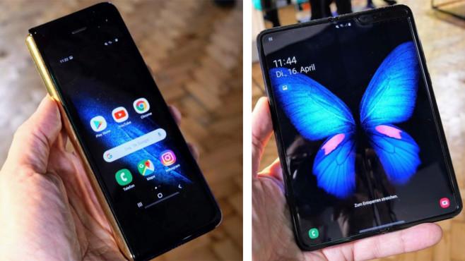Samsung Galaxy Fold vs. Huawei Mate X: Duell der Falt-Smartphones Das AMOLED-Außendisplay (links) im 21:9-Format hat eine Diagonale von 4,6 Zoll und wirkt mit dem großen Rahmen unten und oben etwas aus der Zeit gefallen. Wenn man das Galaxy Fold aufklappt, kommt der 7,3 Zoll große AMOLED-Schirm zum Vorschein. Oben rechts erkennbar: die Notch mit zwei Selfie-Kameras.©COMPUTER BILD