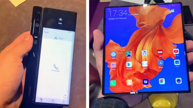 Samsung Galaxy Fold vs. Huawei Mate X: Duell der Falt-Smartphones Das Mate X wird – anders als das Galaxy Fold – nach Außen aufgeklappt. So braucht der Huawei-Falter nur einen Bildschirm, der sich zugeklappt auf vorne (links) und hinten aufteilt.©COMPUTER BILD