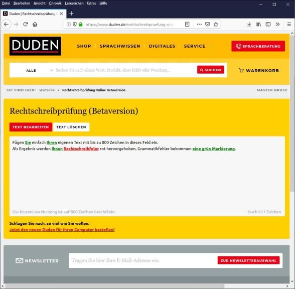 Screenshot 1 - Duden: Rechtschreibprüfung Online