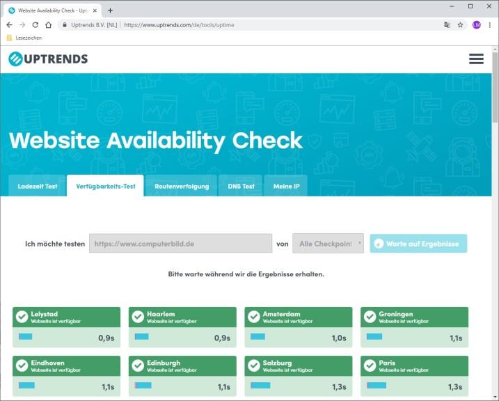 Screenshot 1 - Website Availability Check: Erreichbarkeit von Webseiten testen