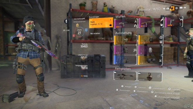 The Division 2: Schnell leveln! Der Loot den Sie finden orientiert sich teils an den Werten der Ausstattung im Inventar und Lager.©Ubisoft