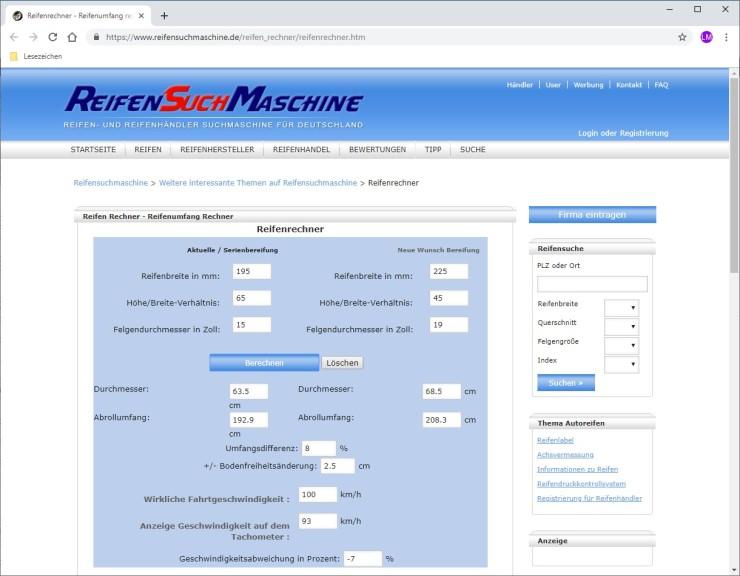 Screenshot 1 - Reifenrechner: Radgröße online berechnen