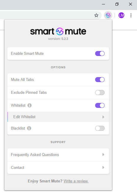 Screenshot 1 - Smart Mute für Chrome