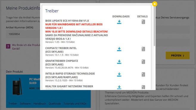 Aldi PC: BIOS-Update©Aldi, Medion, COMPUTER BILD