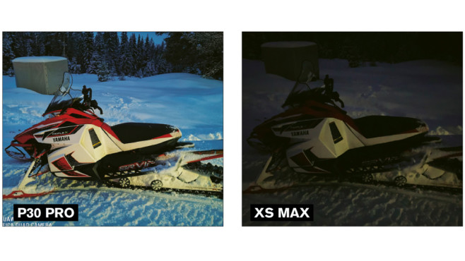 Foto bei Dunkelheit im Vergleich: Huawei P30 Pro, Apple iPhone XS Max©COMPUTER BILD