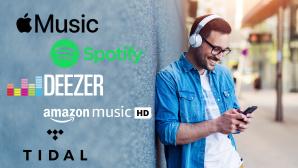 Musik-Streaming-Dienste im Test©iStock.com/Jelena Danilovic, Apple, Amazon, Deezer, Spotify, Tidal