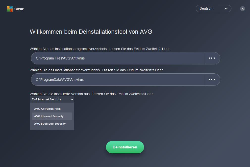 Screenshot 1 - AVG Clear (AVG Remover)