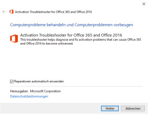 Activation Troubleshooter (Office 365, Office 2019 & Office 2016)