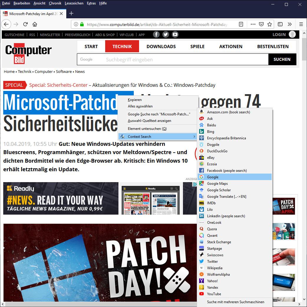 Screenshot 1 - Context Search für Firefox