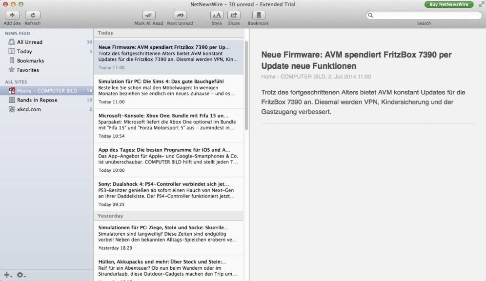Screenshot 1 - NetNewsWire (Mac)