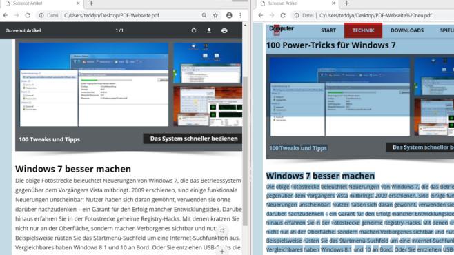 PDF-OCR-Programm: PDF24 mit Texterkennung Links die alte PDF-Version und rechts die neue: Letztere erlaubt das Markieren von Textinhalten.©COMPUTER BILD