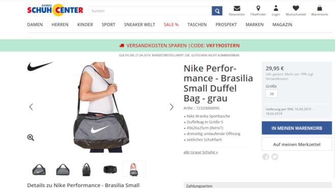 Rabatt auf Taschern bei Schuhcenter.de©PR/Screenshot www.schuhcenter.de