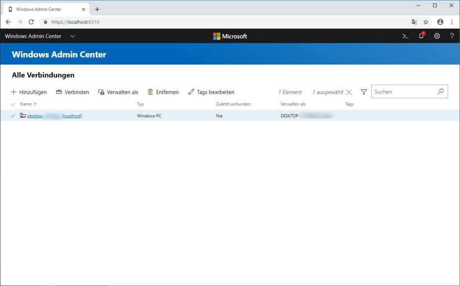 Screenshot 1 - Windows Admin Center